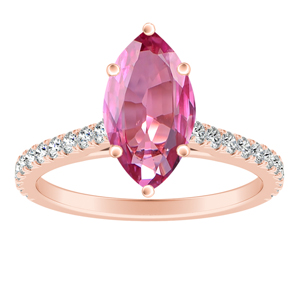 LIV  Classic  Pink  Sapphire  Engagement  Ring  In  14K  Rose  Gold  With  0.50  Carat  Marquise  Stone