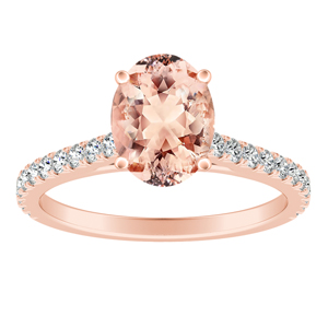 LIV Classic Morganite Engagement Ring In 14K Rose Gold With 1.00 Carat Oval Stone