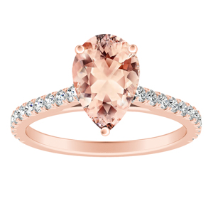 LIV Classic Morganite Engagement Ring In 14K Rose Gold With 1.00 Carat Pear Stone