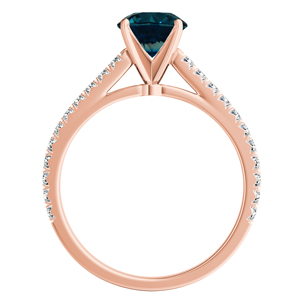 LIV  Classic  Blue  Diamond  Engagement  Ring  In  14K  Rose  Gold  With  0.50  Carat  Round  Diamond