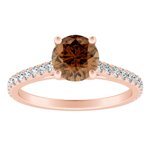 LIV  Classic  Brown  Diamond  Engagement  Ring  In  14K  Rose  Gold  With  0.50  Carat  Round  Diamond