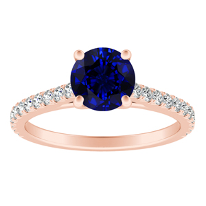 LIV Classic Blue Sapphire Engagement Ring In 14K Rose Gold With 0.50 Carat Round Stone