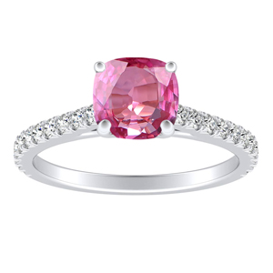LIV  Classic  Pink  Sapphire  Engagement  Ring  In  14K  White  Gold  With  0.50  Carat  Cushion  Stone