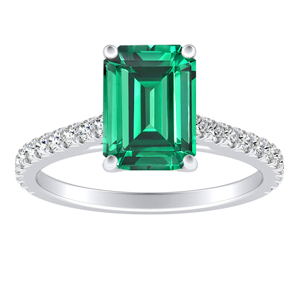 LIV  Classic  Green  Emerald  Engagement  Ring  In  14K  White  Gold  With  0.50  Carat  Emerald  Stone