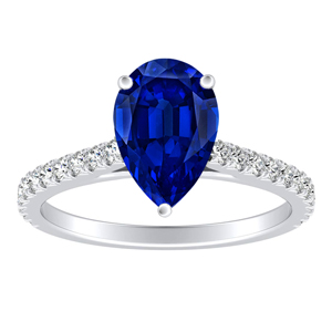 LIV  Classic  Blue  Sapphire  Engagement  Ring  In  14K  White  Gold  With  0.50  Carat  Pear  Stone