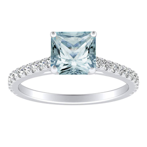 LIV  Classic  Aquamarine  Engagement  Ring  In  14K  White  Gold  With  1.00  Carat  Princess  Stone
