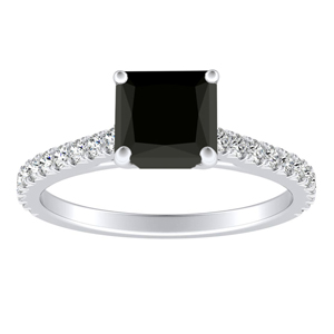LIV  Classic  Black  Diamond  Engagement  Ring  In  14K  White  Gold  With  1.00  Carat  Princess  Diamond