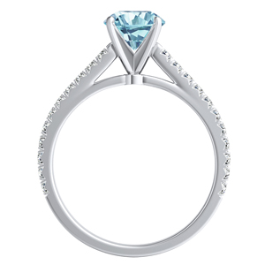 LIV  Classic  Aquamarine  Engagement  Ring  In  14K  White  Gold  With  1.00  Carat  Round  Stone
