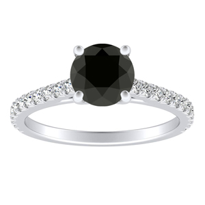 LIV Classic Black Diamond Engagement Ring In 14K White Gold With 0.50 Carat Round Diamond