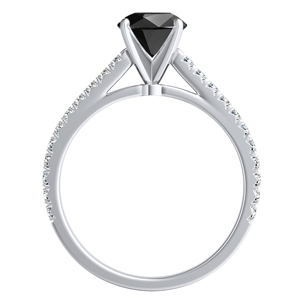 LIV  Classic  Black  Diamond  Engagement  Ring  In  14K  White  Gold  With  1.00  Carat  Round  Diamond