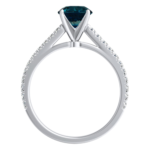 LIV  Classic  Blue  Diamond  Engagement  Ring  In  14K  White  Gold  With  0.50  Carat  Round  Diamond