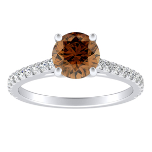 LIV Classic Brown Diamond Engagement Ring In 14K White Gold With 0.30 Carat Round Diamond