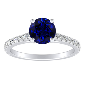 LIV Classic Blue Sapphire Engagement Ring In 14K White Gold With 0.50 Carat Round Stone