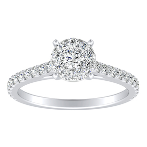 LIV Classic Diamond Engagement Ring In 14K White Gold With Round Diamond In H-I SI1-SI2 Quality