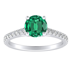 LIV Classic Green Emerald Engagement Ring In 14K White Gold With 0.30 Carat Round Stone