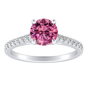 LIV  Classic  Pink  Sapphire  Engagement  Ring  In  14K  White  Gold  With  0.50  Carat  Round  Stone