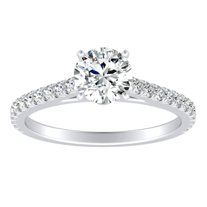 LIV Classic Diamond Engagement Ring In 14K White Gold With 0.50ct. Round Diamond