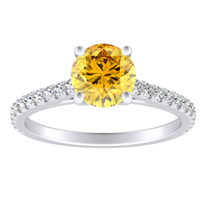 LIV  Classic  Yellow  Diamond  Engagement  Ring  In  14K  White  Gold  With  0.50  Carat  Round  Diamond