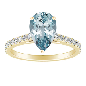 LIV  Classic  Aquamarine  Engagement  Ring  In  14K  Yellow  Gold  With  1.00  Carat  Pear  Stone