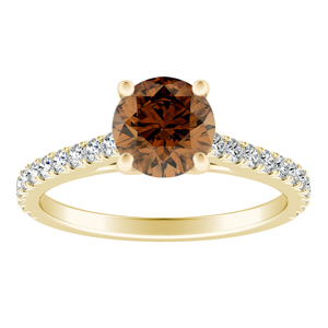 LIV  Classic  Brown  Diamond  Engagement  Ring  In  14K  Yellow  Gold  With  0.50  Carat  Round  Diamond
