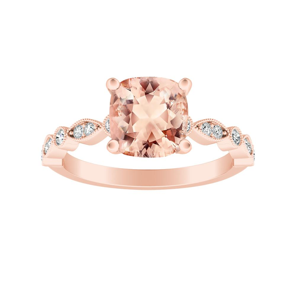 Athena Vintage Style Morganite Engagement Ring In 14k Rose Gold With