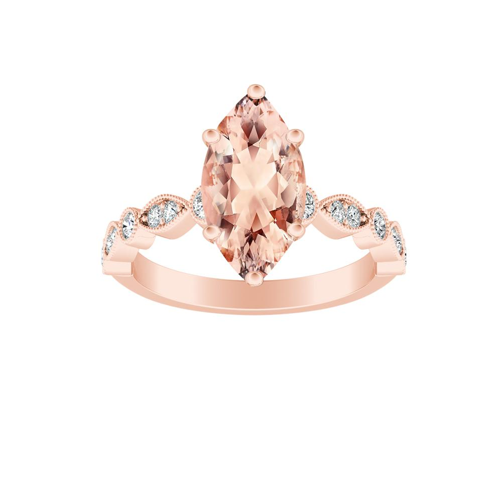 ATHENA Vintage Style Morganite Engagement Ring In 14K Rose Gold With 2.00 Carat Marquise Stone