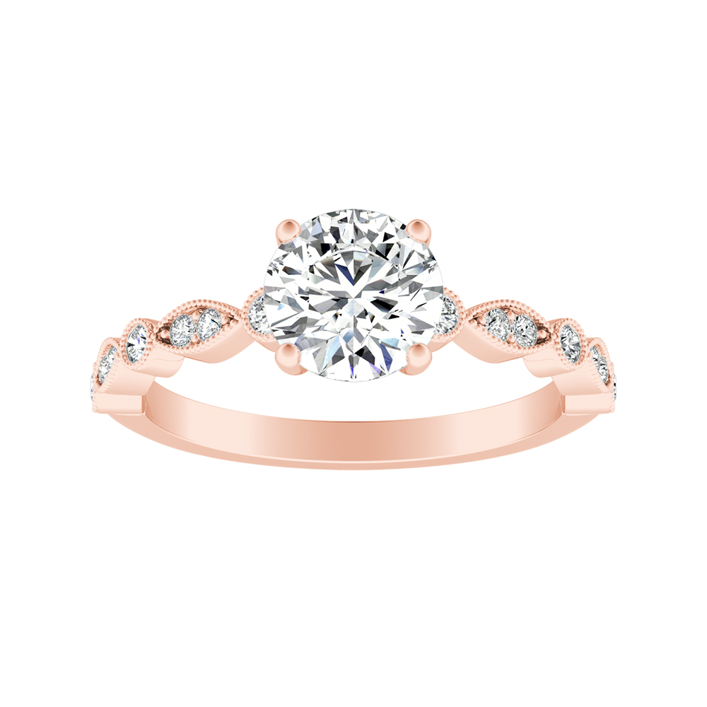 ATHENA Vintage Style Diamond Engagement Ring In 14K Rose Gold