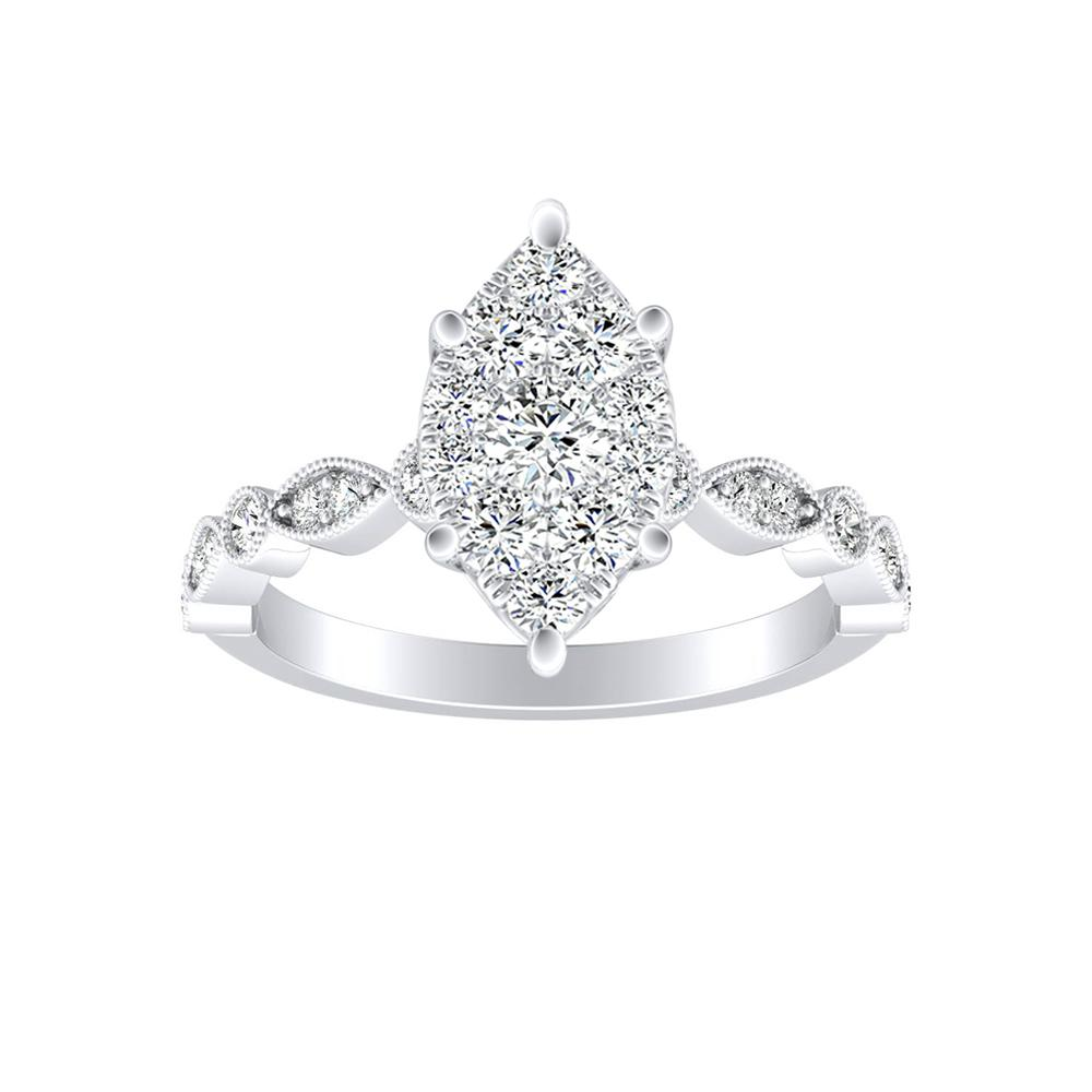 ATHENA Vintage Style Diamond Engagement Ring In 14K White Gold With Marquise Diamond In H-I SI1-SI2 Quality