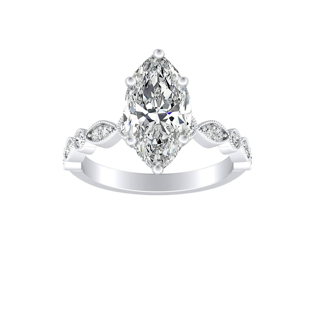 ATHENA Vintage Style Diamond Engagement Ring In 14K White Gold