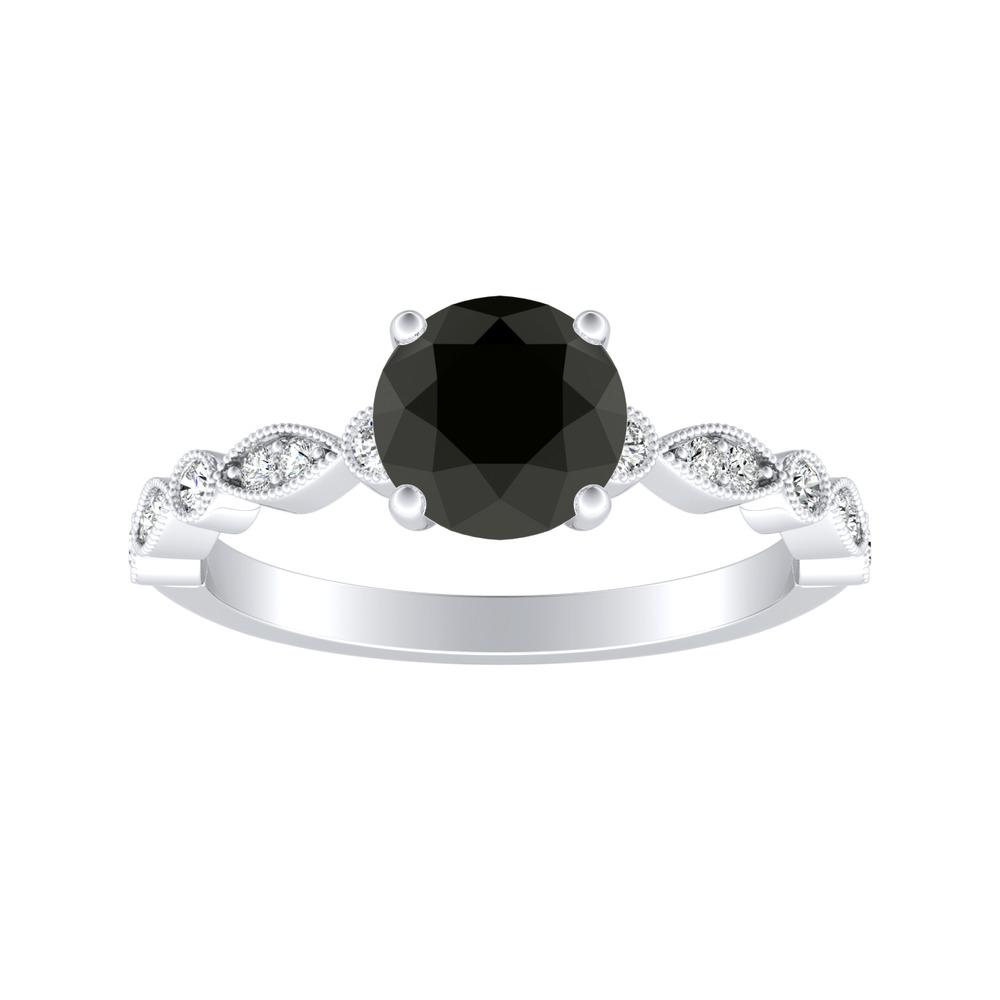 ATHENA Vintage Style Black Diamond Engagement Ring In 14K White Gold With 1.00 Carat Round Diamond