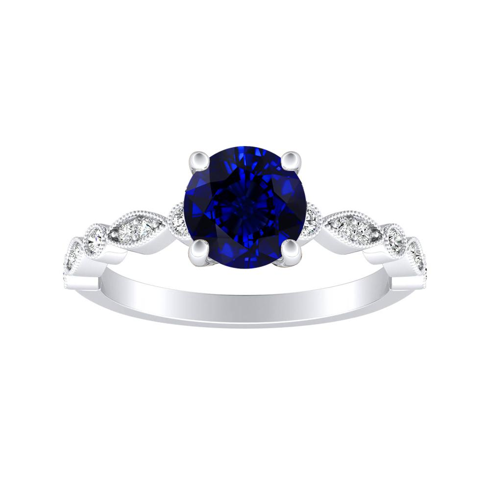 ATHENA Vintage Style Blue Sapphire Engagement Ring In 14K White Gold With 0.30 Carat Round Stone