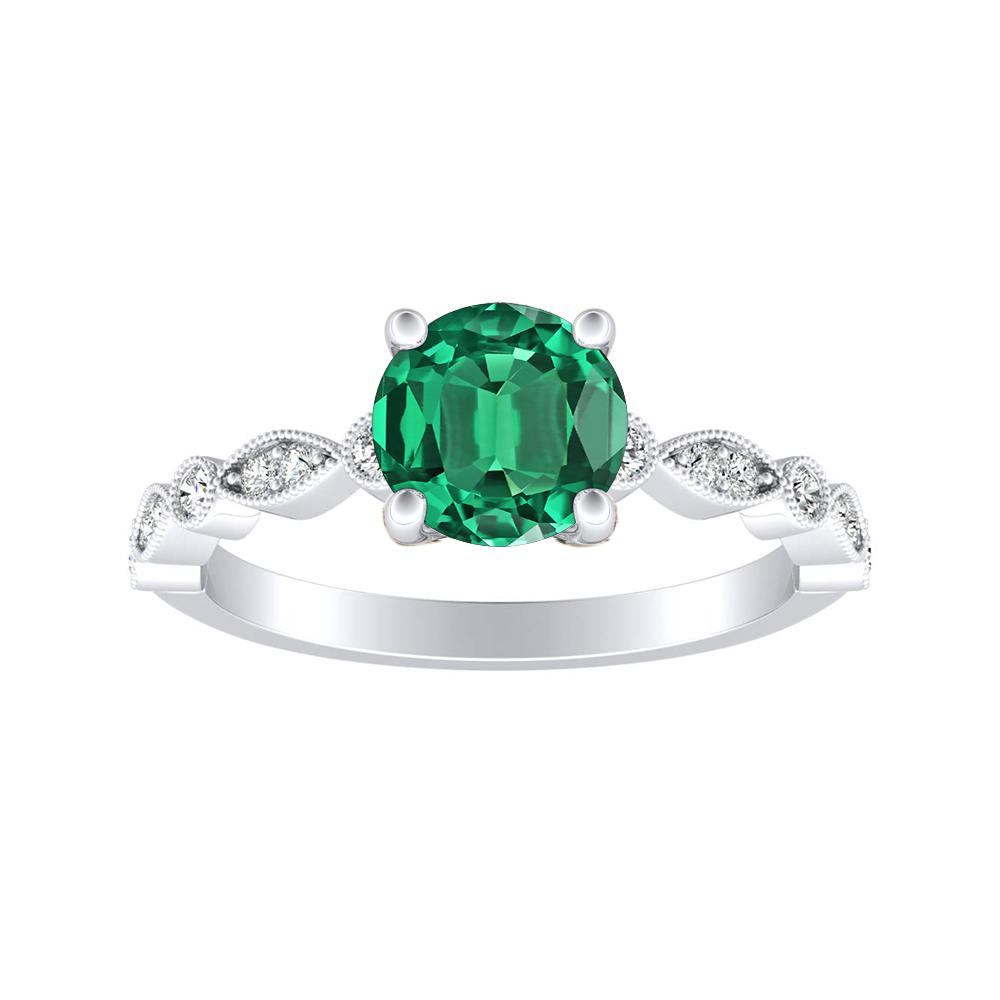 ATHENA Vintage Style Green Emerald Engagement Ring In 14K White Gold With 0.50 Carat Round Stone