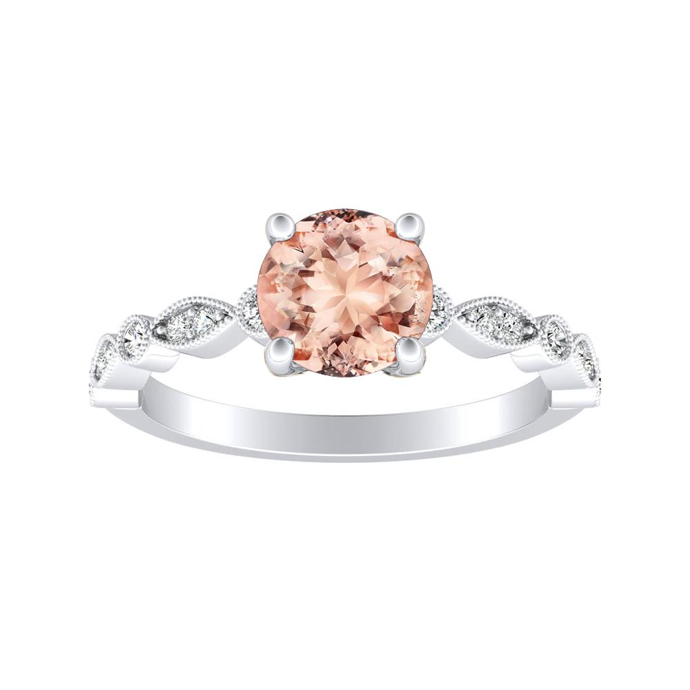 ATHENA Vintage Style Morganite Engagement Ring In 14K White Gold With 1.00 Carat Round Stone