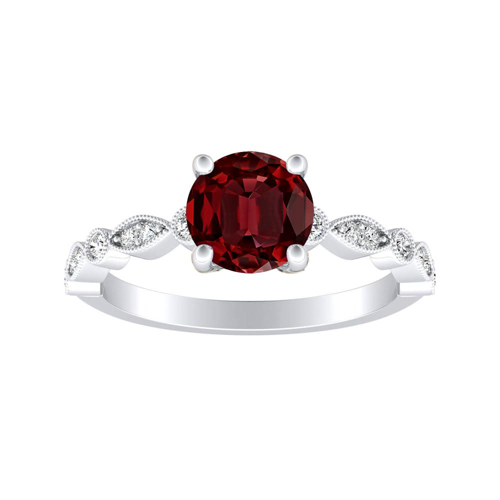 ATHENA Vintage Style Ruby Engagement Ring In 14K White Gold With 0.50 Carat Round Stone