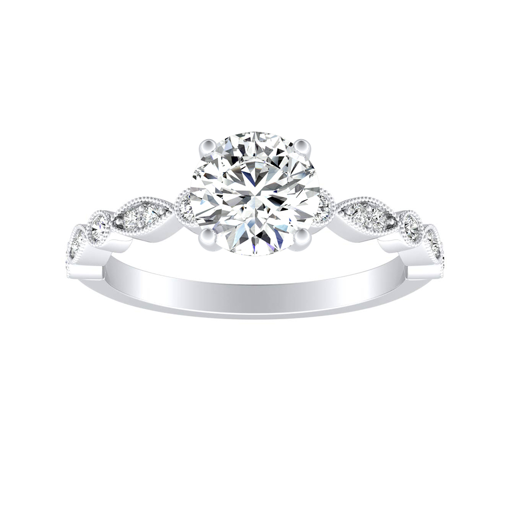 ATHENA Vintage Style Diamond Engagement Ring In 18K White Gold