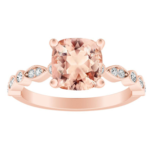 ATHENA Vintage Style Morganite Engagement Ring In 14K Rose Gold With 1.00 Carat Cushion Stone