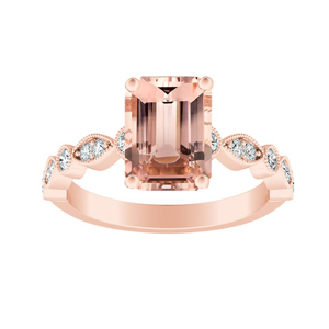ATHENA Vintage Style Morganite Engagement Ring In 14K Rose Gold With 1.00 Carat Emerald Stone