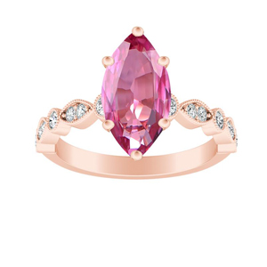 ATHENA  Vintage  Style  Pink  Sapphire  Engagement  Ring  In  14K  Rose  Gold  With  0.50  Carat  Marquise  Stone