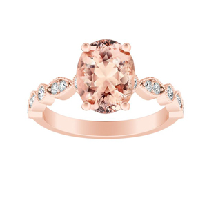 ATHENA Vintage Style Morganite Engagement Ring In 14K Rose Gold With 1.00 Carat Oval Stone