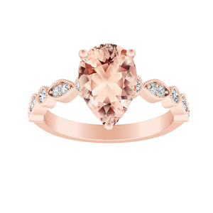 ATHENA Vintage Style Morganite Engagement Ring In 14K Rose Gold With 1.00 Carat Pear Stone