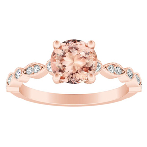 ATHENA  Vintage  Style  Morganite  Engagement  Ring  In  14K  Rose  Gold  With  1.00  Carat  Round  Stone