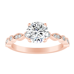 ATHENA  Vintage  Style  Moissanite  Engagement  Ring  In  14K  Rose  Gold  With  0.50  Carat  Round  Stone