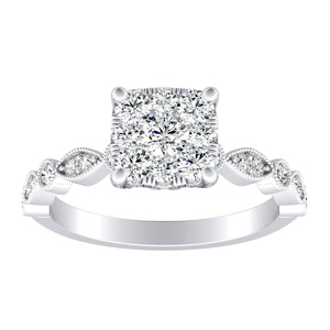 ATHENA Vintage Style Diamond Engagement Ring In 14K White Gold With Cushion Diamond In H-I SI1-SI2 Quality