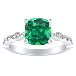 ATHENA Vintage Style Green Emerald Engagement Ring In 14K White Gold With 0.50 Carat Cushion Stone