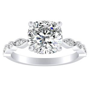 ATHENA Vintage Style Diamond Engagement Ring In 14K White Gold
