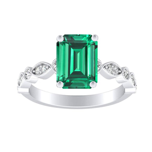ATHENA  Vintage  Style  Green  Emerald  Engagement  Ring  In  14K  White  Gold  With  0.50  Carat  Emerald  Stone