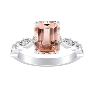 ATHENA Vintage Style Morganite Engagement Ring In 14K White Gold With 1.00 Carat Emerald Stone