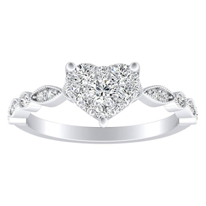 ATHENA Vintage Style Diamond Engagement Ring In 14K White Gold With Heart Diamond In H-I SI1-SI2 Quality