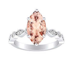 ATHENA  Vintage  Style  Morganite  Engagement  Ring  In  14K  White  Gold  With  1.00  Carat  Marquise  Stone