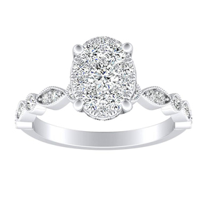 ATHENA Vintage Style Diamond Engagement Ring In 14K White Gold With Oval Diamond In H-I SI1-SI2 Quality